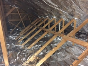 Hybrid install atticfoil radiant barrier do it yourself this is typically the easier of the two methods to install simply lay atticfoil out over the existing insulation on the attic floor like a blanket on a solutioingenieria Choice Image